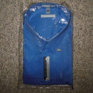 Geoffrey Beene 19 3X Blue Sateen Dress Shirt L/S